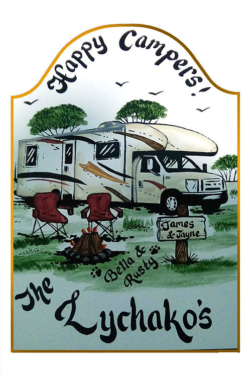 Custom hand painted class c rv camper sign