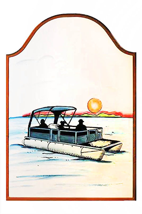 Custom hand painted sign of pontoon boat and sunset