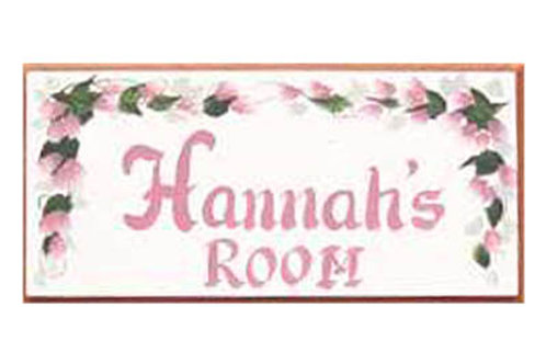 Custom hand painted pink rose sign for girls bedroom