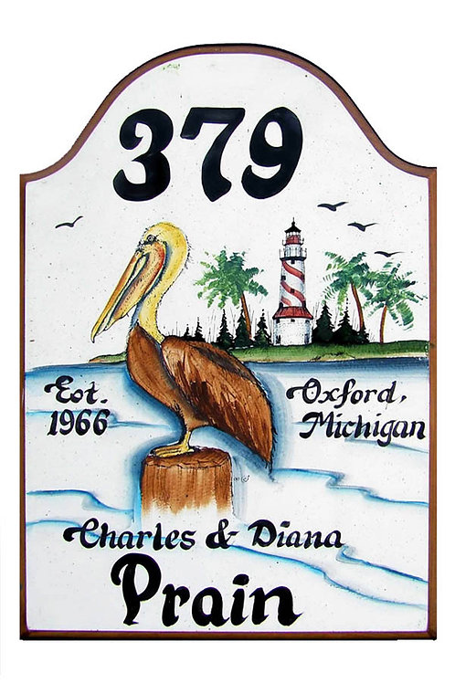 Custom hand painted pelican sign for home or camper