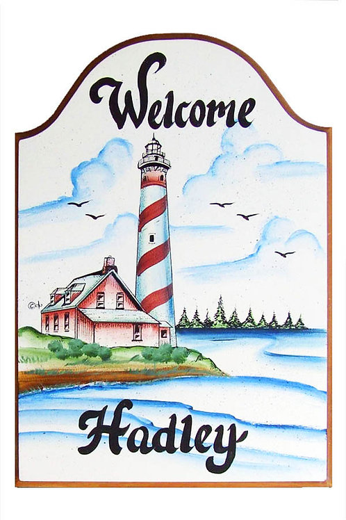 Custom hand painted lighthouse sign