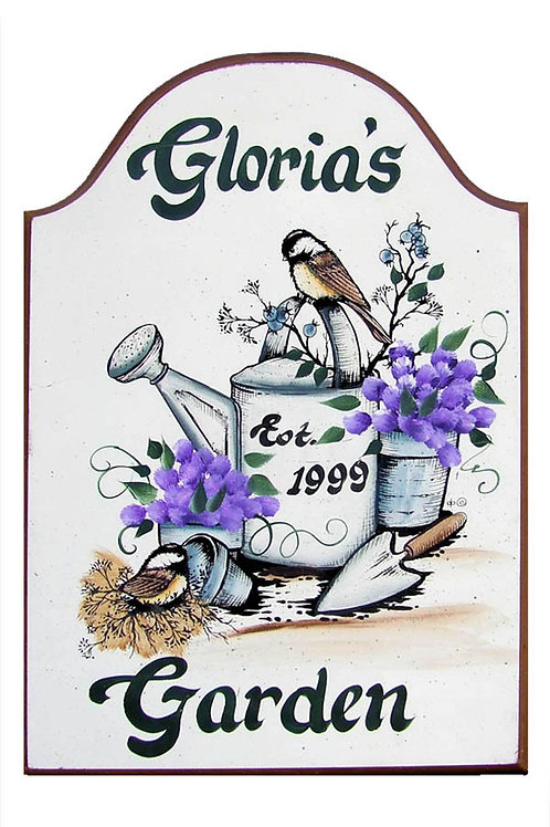 Custom hand painted watering can sign with birds and flowers for garden