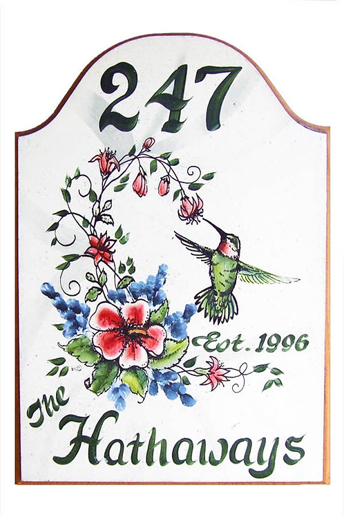 Custom hand painted hummingbird sign with flowers