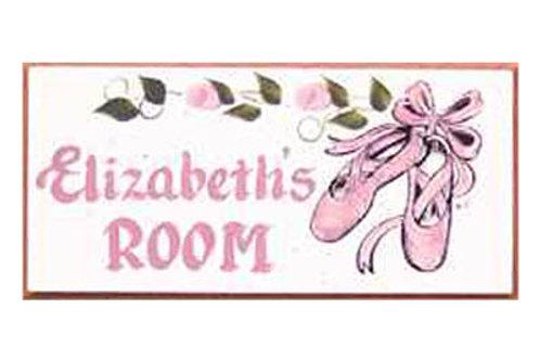 Custom hand painted ballet slipper sign for girls bedroom