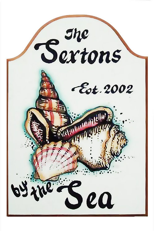 Custom hand painted sea shell sign for home camper office or beach house