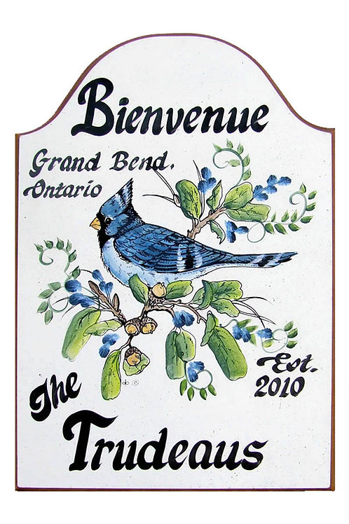 Custom hand painted blue jay sign for home or camper