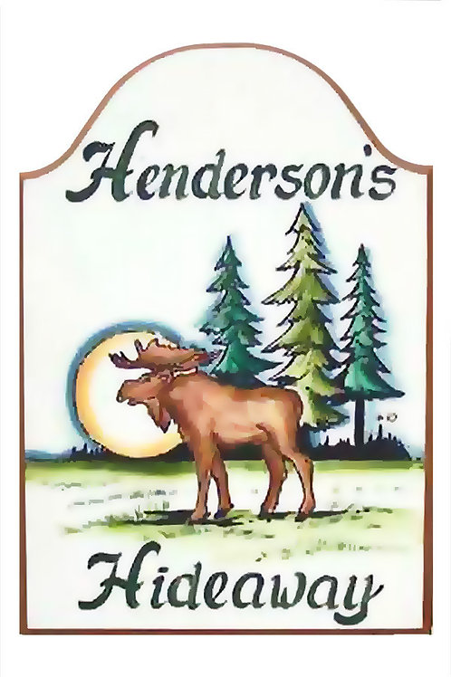 Custom hand painted moose sign for camper, home, retreat or den