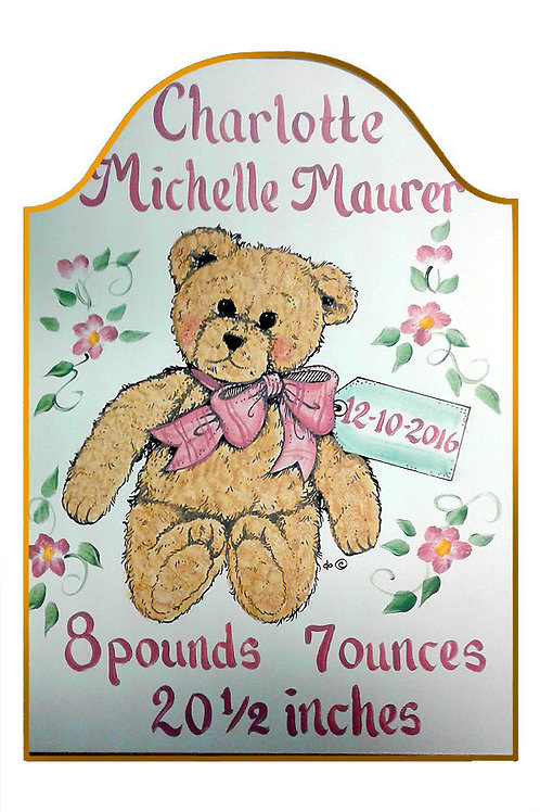 Custom hand painted teddy bear sign with baby birth details