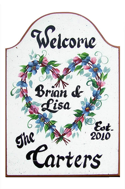 Custom hand painted heart wreath sign for home or camper
