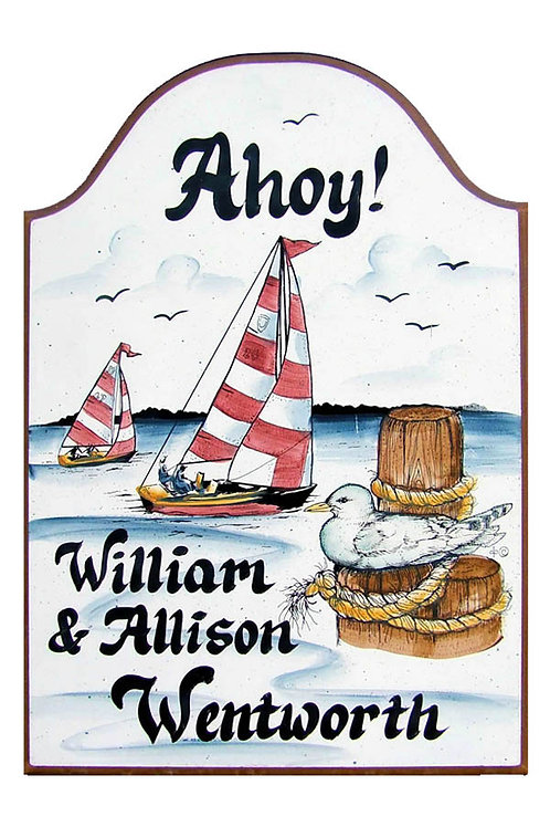 Custom hand painted sailboat sign for home or camper