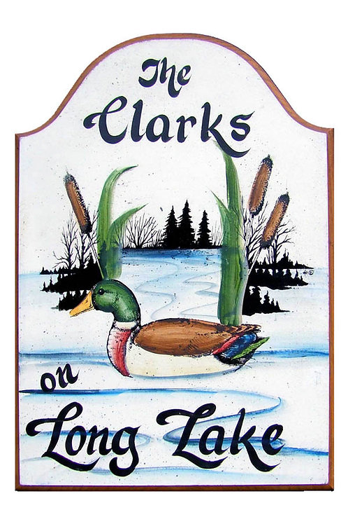 Custom hand painted mallard duck sign for home or camper