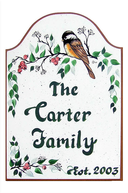 Custom hand painted chickadee sign for home or camper