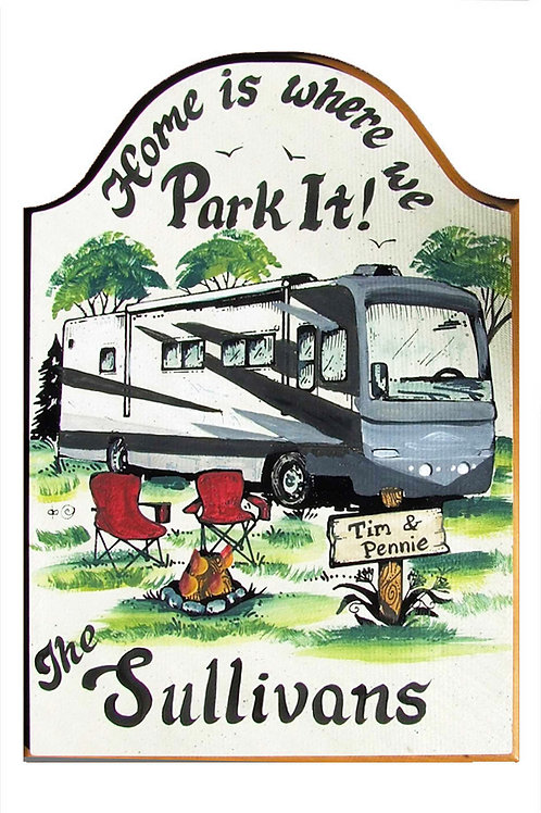 Custom hand painted Class A RV camper sign