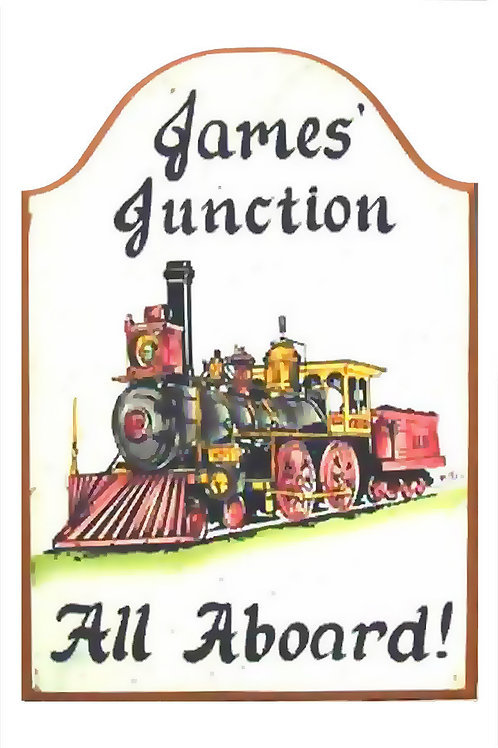 Custom hand painted train sign for camper home den office or man cave