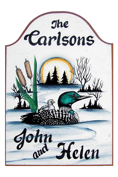 Custom hand painted loon sign for camper or home