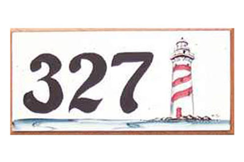 Custom hand painted sign with lighthouse and address numbers