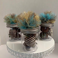 MINI MASON JARS CHOCOLATE COVERED STRAWBERRIES GIFT SETS