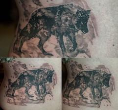 Wolf in an abstract attire #tattoo #tatu