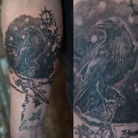 Raven tattoo for Jens. This might turn i