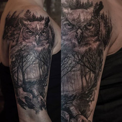 Owl tattoo on an awesome client, hope to
