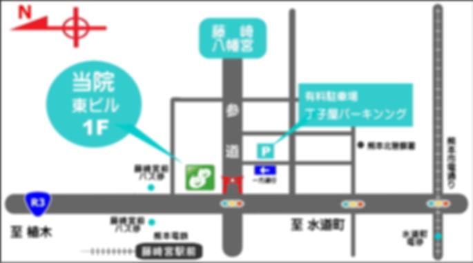 藤崎宮前クリニック,地図,バス停,マップ,駐車場,藤崎八幡宮