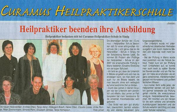 Schüler bedanken sich bei Curamus Heilpraktikerschule