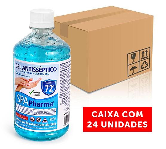 Gel Antisséptico com Clorexidina + Álcool 72% SPAPharma 500ml - Caixa com 24und