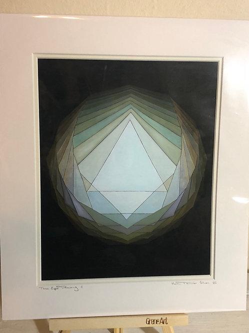 Three Eyes Drawing - Mounted Print