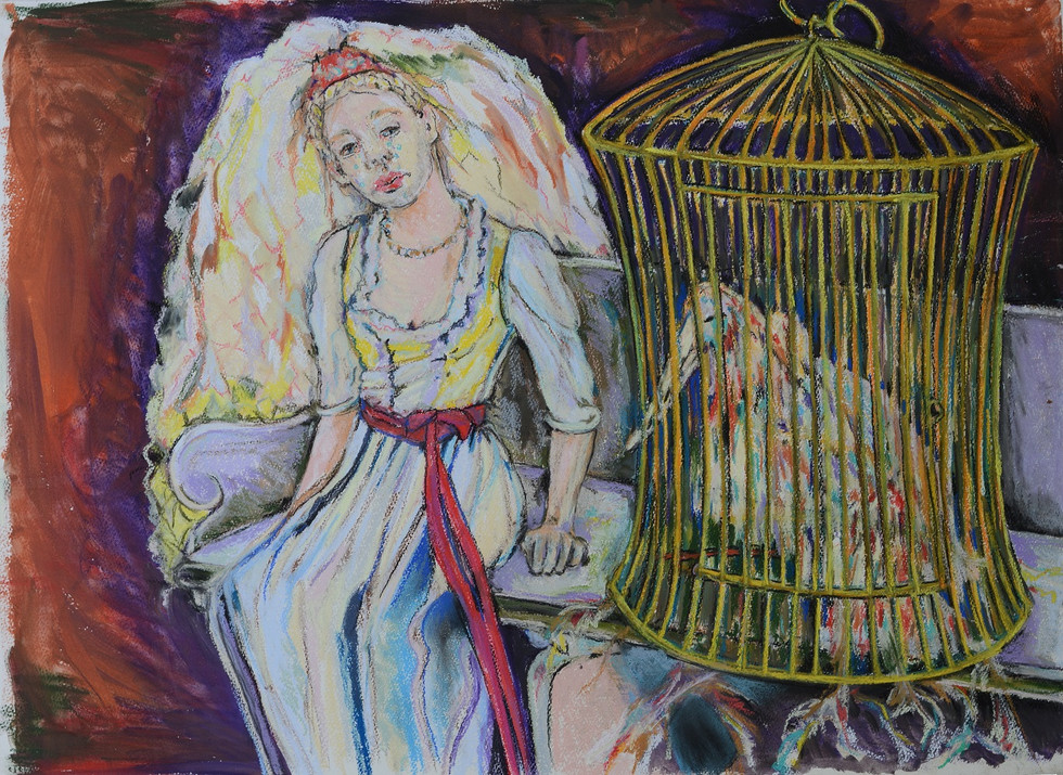 21. In de grote zaal zat Elena op een bankje, de vuurvogel zat bij haar in zijn kooi