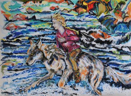 8. Grijze wolf zwom snel met de jongen de rivier over