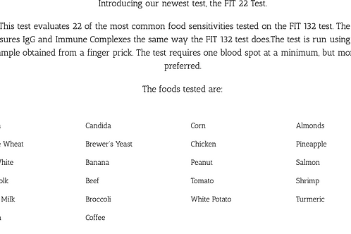Food Inflammatory Test (FIT) 22