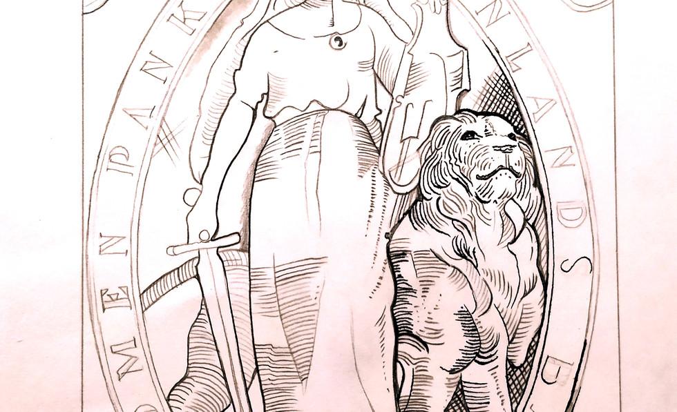 ⚜🧝♀💸 Lady goddess and the lion /  La Diosa y el León.