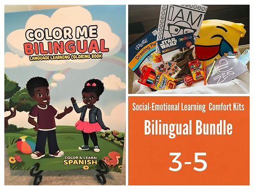 Color Me Bilingual Coloring Book with SEL Student Comfort Kit 3-5