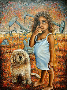 Girl And A Dog Painting