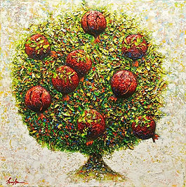 Red Pomegranate Tree Painting