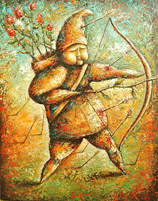 Man With A Bow Painting