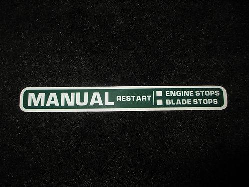 LAWN-BOY MANUAL RESTART DECK DECAL 1980's MODEL