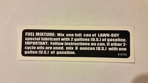 LAWN-BOY COMMERCIAL FUEL MIXTURE DECAL
