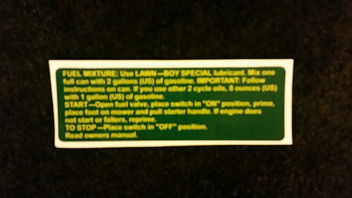 LAWN-BOY SHROUD START STOP DECAL. PART # 610412