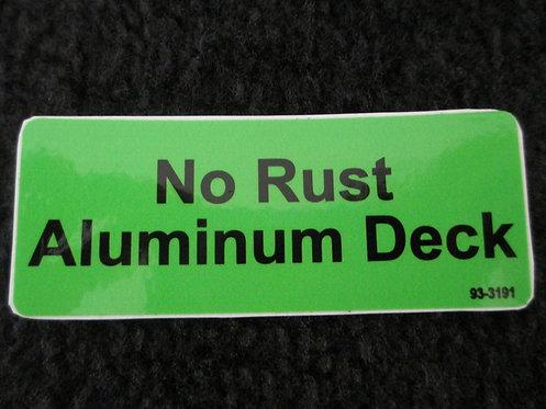 LAWN-BOY NO RUST ALUMINUM DECK DECAL PART # 93-3191