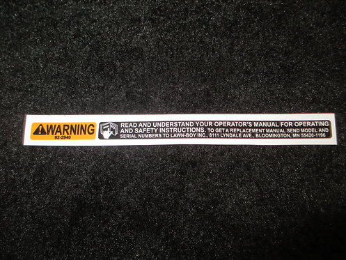 LAWN-BOY HANDLE SAFETY WARNING DECAL 1990's MODEL PART # 92-2940