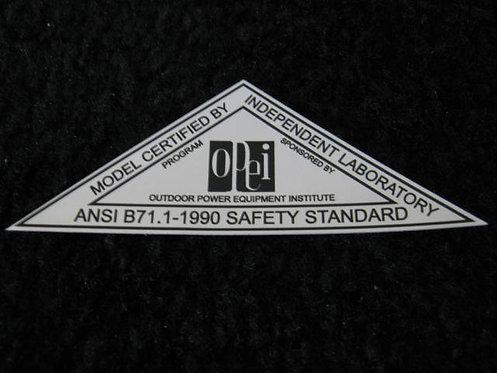 LAWN-BOY 1990 OPEI SILVER SAFETY STANDARD DECAL