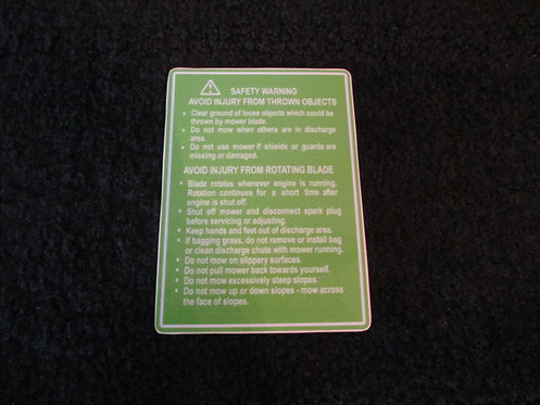LAWN-BOY COMMERCIAL DECK SAFETY WARNING DECAL 1980's MODEL