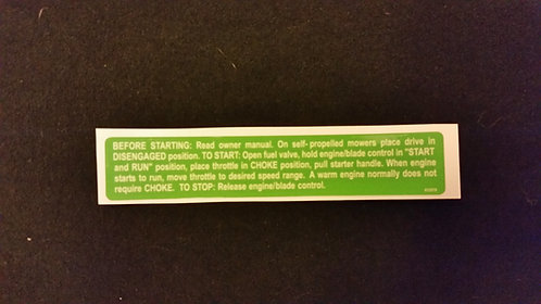 LAWN-BOY REPRODUCTION HANDLE DECAL PART 612579