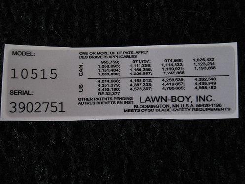LAWN-BOY MODEL & SERIAL NUMBER DECAL MODEL #10515