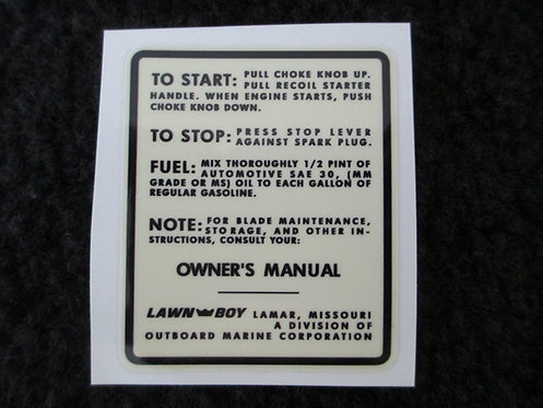 LAWN-BOY START DECK DECAL MODEL 3050