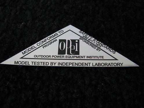 LAWN-BOY 1972 OPEI SILVER SAFETY STANDARDS DECAL