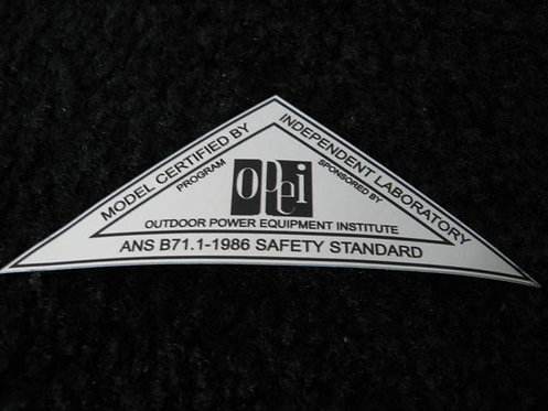 LAWN-BOY 1986 OPEI SILVER SAFETY STANDARD DECAL