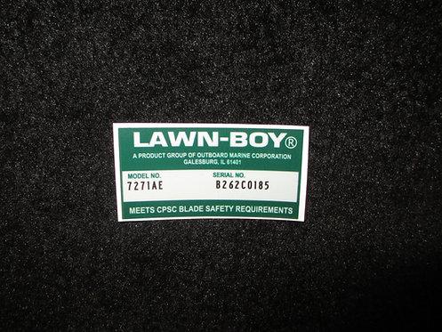 LAWN-BOY DECK DECAL MODEL NO. 7271AE & SERIAL NO. B262C0185