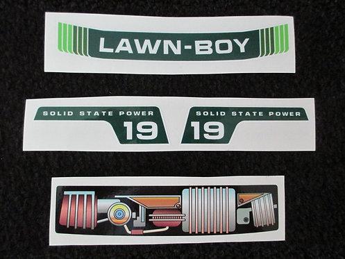 """LAWN-BOY 4 PIECE TOY DECAL SET 19"""" MODEL"""